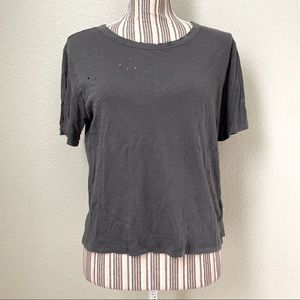 American Eagle Distressed Awesome Wash Tee Sage L